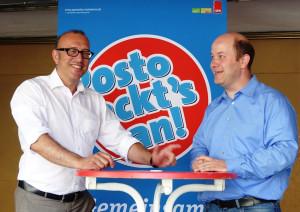 Apostolos Tsalastras und Osterfelds Bezirksbürgermeister Thomas Krey.